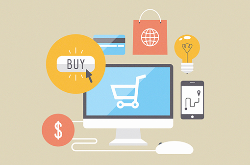 Icons of buying product via online shop and e-commerce par Bloomua