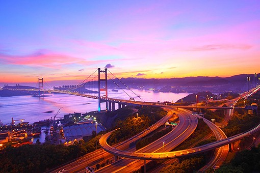 Tsing Ma Bridge at sunset in Hong Kong by coloursinmylife