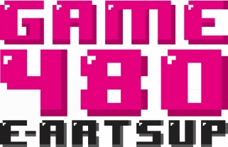 Logo conçu avec un design rétro en 8-bit emblématique de la culture geek.