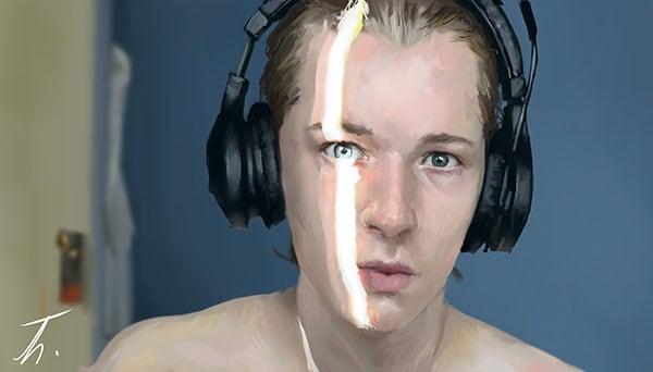 Autre autoportrait dont j'adorais la lumière ! Très amusant à peindre.