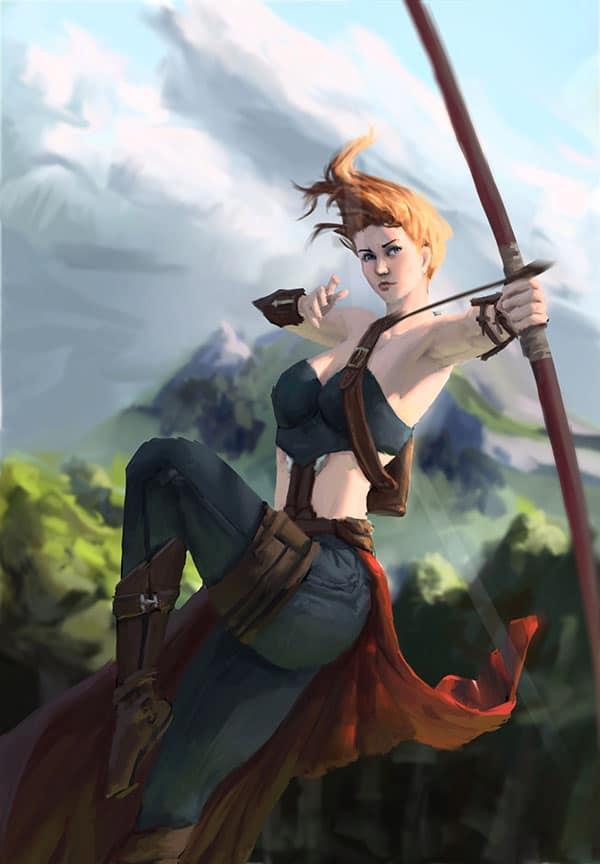Illustration d'une archère humaine. Fait à partir d'un croquis réalisé en traditionnel. Pour ce painting, je voulais vraiment quelque chose de dynamique et avec une forte lumière directe.